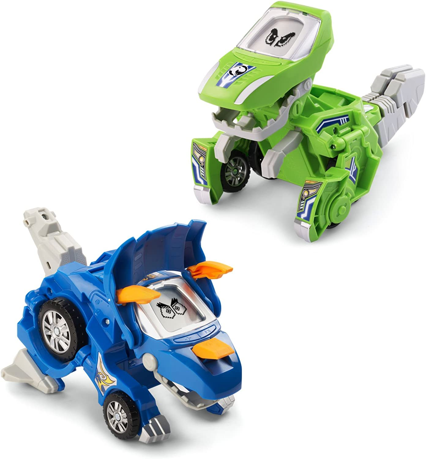 VTech 80204720 Switch and Go Animated Dinos 2Pack with Sliver and Horns, Multicolord