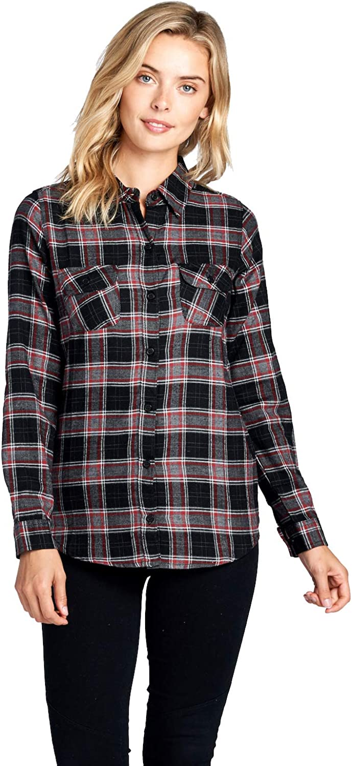 bluee Age Womens Long Sleeve Plaid Flannel Shirts Casual