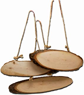 Josephine on Caffeine Unfinished Blank Slice Hanging Rustic Wood Signs for Crafts (3 Pack)
