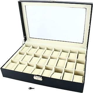 Homend 24 Slot PU Leather Watch Box/Watch Case/Jewelry Display Storage Organizer Box with Key&Lock, Glass Top