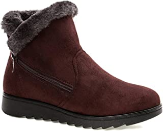 comprar comparacion 2019 Zapatos Invierno Mujer Botas de Nieve Casual Calzado Piel Forradas Calientes Planas Outdoor Boots Antideslizante Zapa...