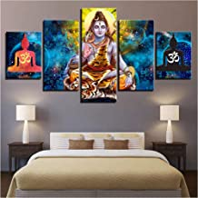 YANGSHUANG Canvas Pictures Poster Modular 5 Pieces Hindu God Lord Shiva Paintings HD Printed Art Framework Decoration Home Living Room Wall