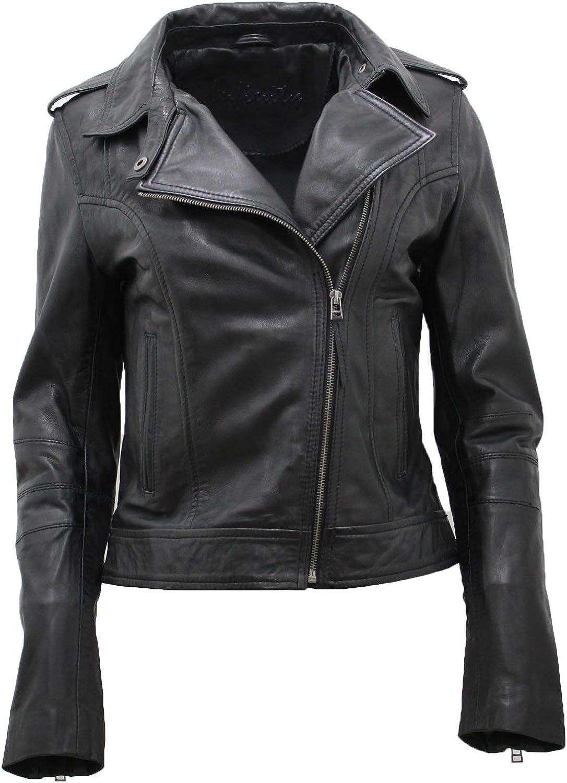 Infinity Ladies Black Casual Retro Brando Soft Nappa Leather Biker Jacket