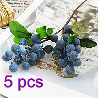 RTWAY Artificial Blueberry Fruit,Holly Christmas Berries for Home Wedding Festival Holiday Christmas Tree Decorations,5 Pcs