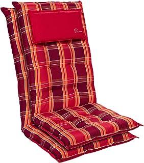 Homeoutfit24 Sylt - Coussin de Chaise de Jardin, Fabrique en Europe, Résistant aux UV, Coussin de tête Amovible, 2 pièces...