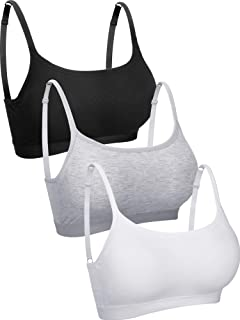 3 Pieces Mini Camisole Bra Wireless Padded Bra Tank Top Bra Seamless Sports Bra with Straps for Women Girls