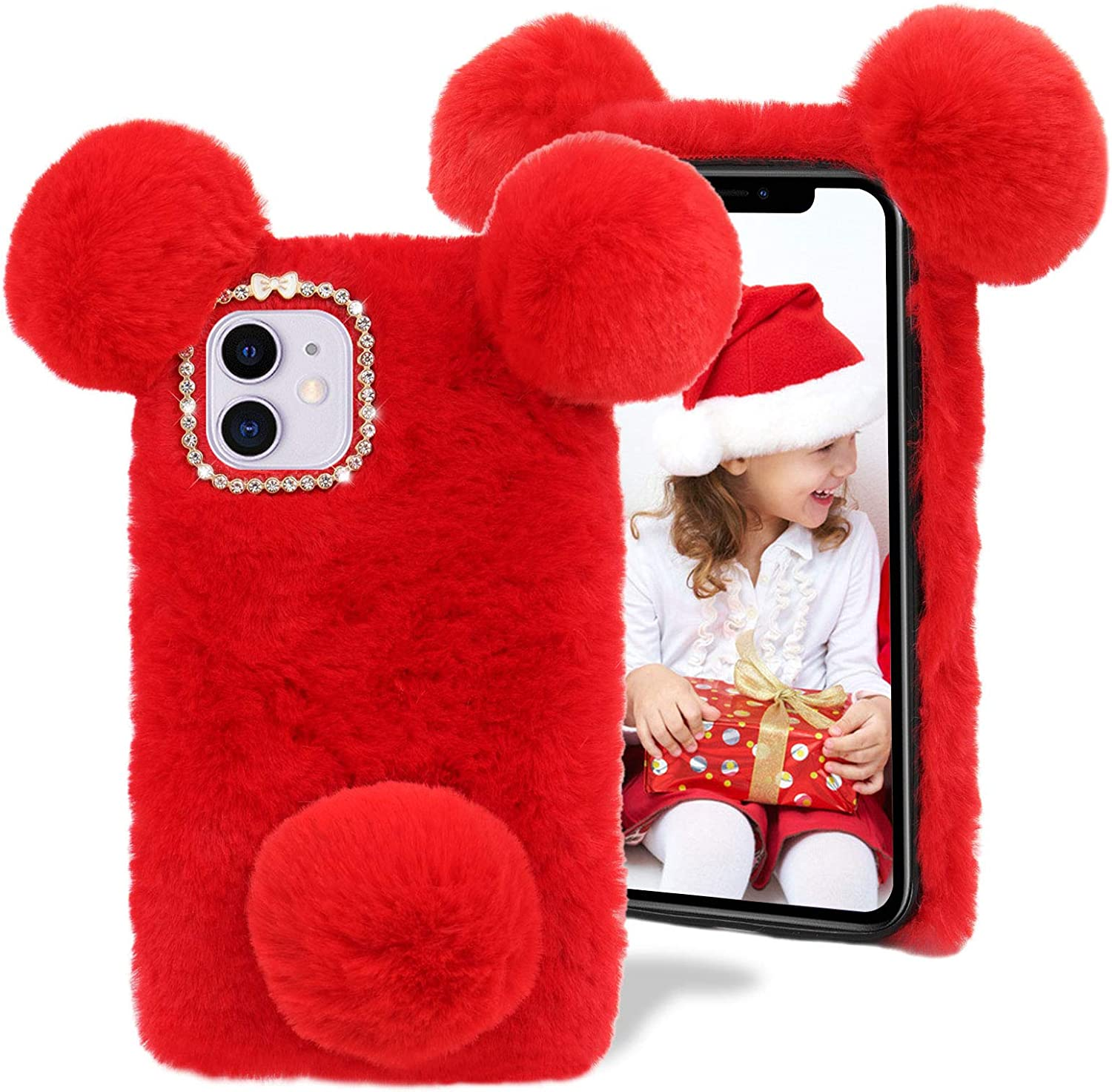Plush Phone Case specialty shop for LG K92 5G MOIKY Cute Winter Pom 2021 new Fluffy Fur
