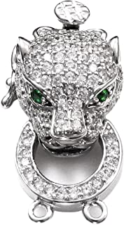 0.5in Sterling Silver Rhodium Plated Click-on Synthetic CZ Enamel Leopard High Heel Charm