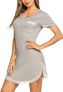 Ekouaer Nightgown Womens Sexy Sleep Shirt Dress V Neck Short Sleeve Lace Trim Soft Night Shirts (XS-3XL)