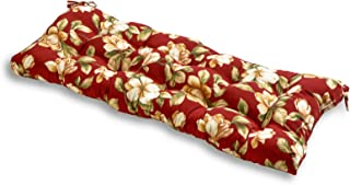 South Pine Porch AM4805-ROMA Roma Floral 44-inch Outdoor Swing/Bench Cushion, Dark Red