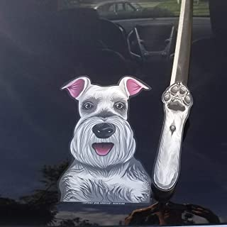 Missy the Schnauzer Waving Dog WiperTags with Decal for Rear Vehicle Wipers