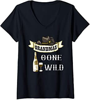 Womens Grandmas Gone Wild Wine Glass Cowgirl Hat Alcohol Adult V-Neck T-Shirt