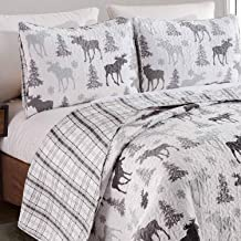 3-Piece Outdoors Pine Trees Print Moose Quilt Set King Size Rustic-Themed Wilderness Bedding Reversible Cover to Dark Light Grey Plaid Pattern