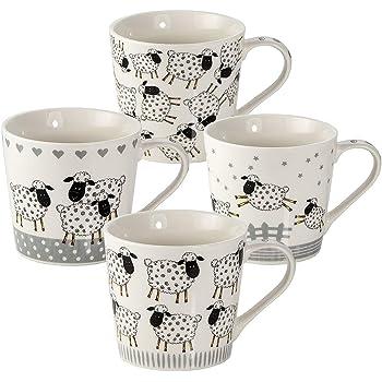 Juego de 4 Tazas de Café Originales, Tazas Desayuno Grandes con Oveja, Regalo para Mujer y Hombre Amantes de los Animales: Amazon.es: Hogar
