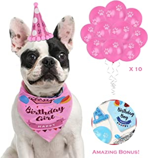 Hake's Toys Dog Birthday Bandana |Boys and Girls |2 Bonuses Set |100% Cotton Tie for Large Small Dogs |Best Pet Birthday Party Supplies