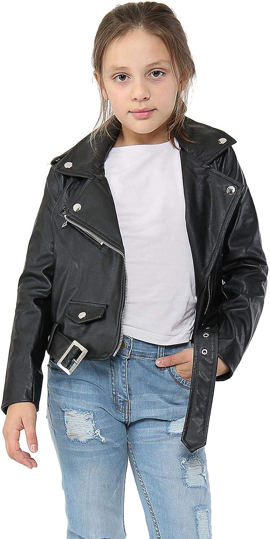 Kids Girls Jackets Designer's PU Leather Black Jacket Zip Up Biker Belted Coats