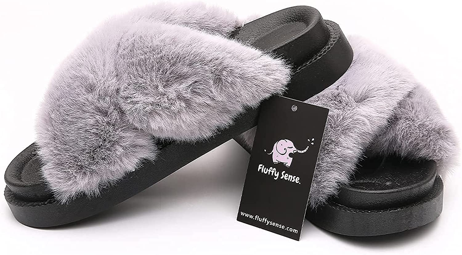 FLUFFY SENSE. Women's Fluffy Slides Cross Band Fuzzy Slippers For Women Soft Plush Open Toe with Arch Support Gift For Her Cute Comfort Indoor/Outdoor