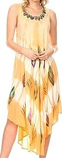 Sakkas Peacock Feather Caftan Dress/Cover Up