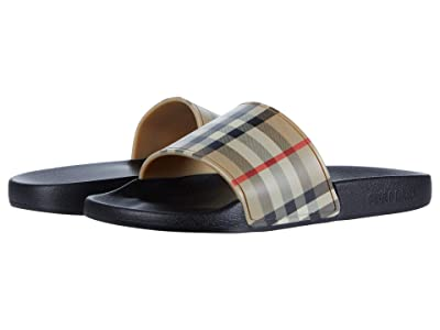 Burberry Kids Mini Furley Check Slide (Toddler/Little Kid) (Archive Beige) Kid