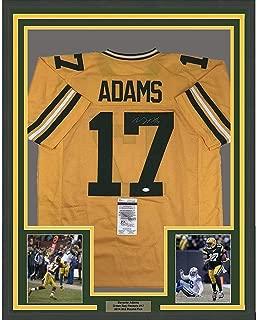 Signed Davante Adams Jersey - FRAMED 33x42 Yellow COA - JSA Certified - Autographed NFL Jerseys