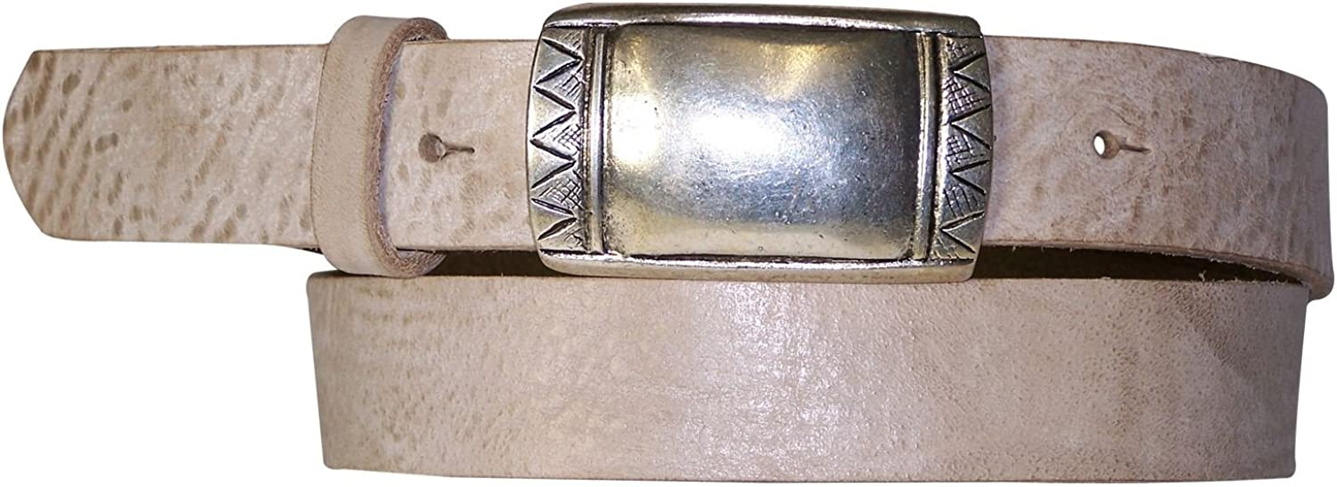 FRONHOFER Unisex belt, real leather, silver buckle, ethnic, vegetable tanned, Size waist size 29.5 IN S EU 75 cm, color Cream