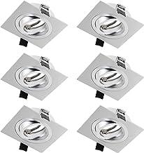 SEBSON 6x Inbouwspot Vierkant Zwenkbaar incl. GU10 Fitting (LED/Halogeen) - Boorgat Ø80mm, Zilver Mat Aluminium, Plafondsp...