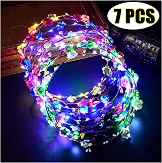 LED Flower Crown, Coxeer Led Flower Wreath Headband Luminous 10 Led Flower Headpiece Flower Headdress For Girls Women Wedding Festival Holiday Christmas New Year Party (7PCS)