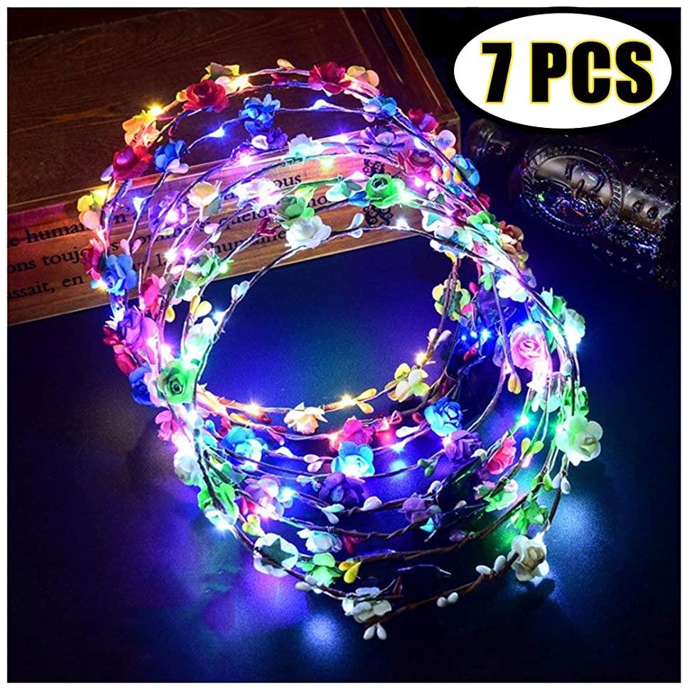 Coxeer LED Flower Crown, 7 PCS Led Flower Wreath Headband Luminous 10 Led Flower Headpiece Flower Headdress for Girls Women Wedding Festival Holiday Christmas Halloween Party