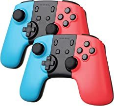 Sunjoyco Wireless Remote Pro Controller Joypad Gamepad for Nintendo Switch Console - Blue + Red (2-Pack)