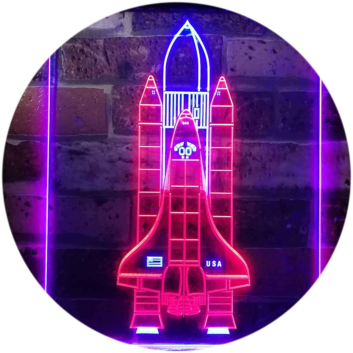 ADVPRO Space Shuttle Rocket Spacecraft Dual Color LED Neon Sign Red & Blue 12