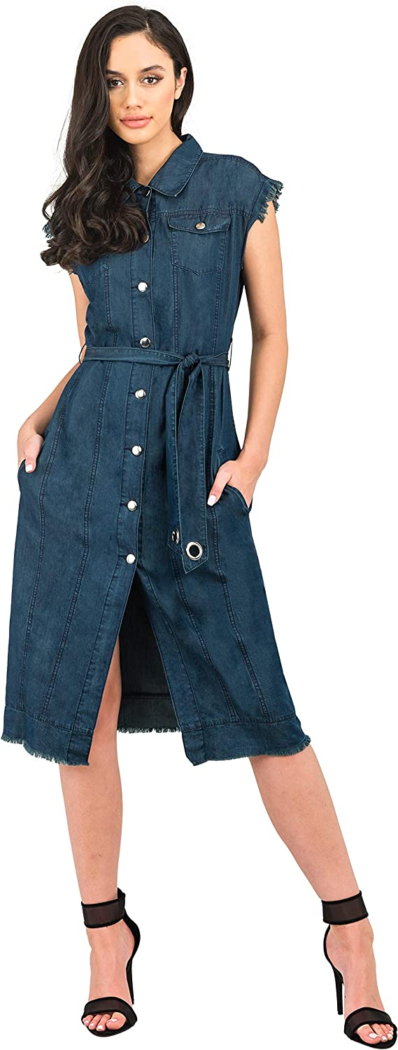 Standards Practices Modern Women's Super beauty product restock quality top Denim Ranking TOP4 Sleeveless Frayed Dus