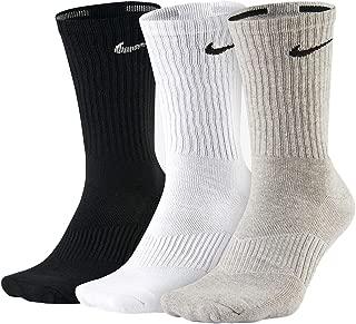 Unisex Performance Cushion Crew Training Socks (3 Pairs), Black/White/Grey, Large …