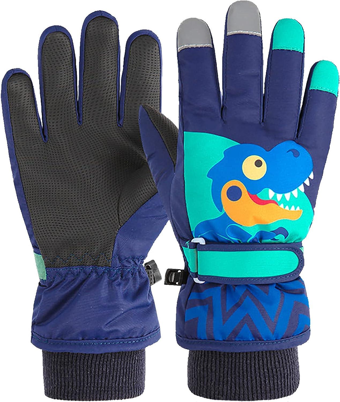 Sucpur Kids Winter Gloves, Toddler Snow Gloves Windproof Outdoor Sports Adjustable Warm Gloves for Boys and Girls Kids Mittens Children Winter Snow Waterproof Thick Warm Windproof Gloves