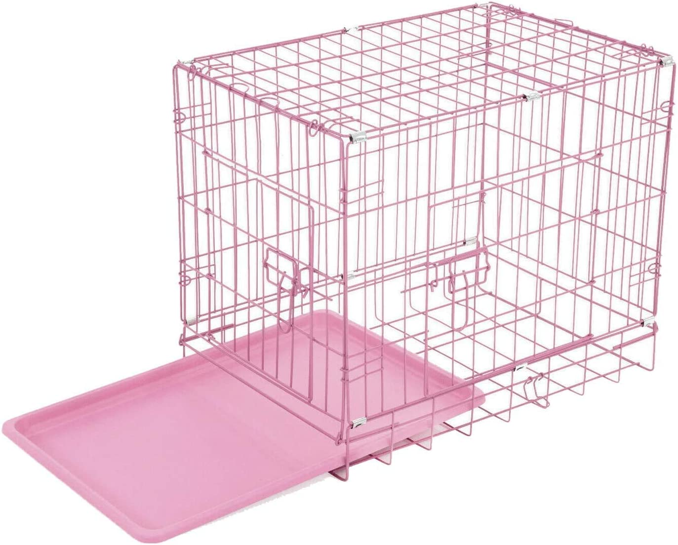 Animal Transport Pet Carrier with Double-Door Pink 24 Inch: 63x44x50.5cm Easy to Clean Dog Crate Home Pet Cage Dog Cat Puppy Training Folding Metal Crate Fence with Tray