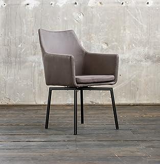 KAWOLA Stuhl Cali Sessel Stoff Esszimmerstuhl Dunkelgrau Füße Matt Schwarz  B/H/T