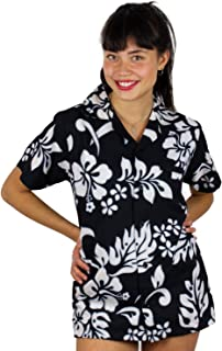 V.H.O Funky Hawaiian Blouse, Hibiscus, Black, XS