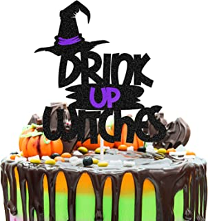 LINGTEER Drink up Witches Black & Purple Halloween Cake Topper Fun for Halloween Scary Drink & Eat Party Supplies.