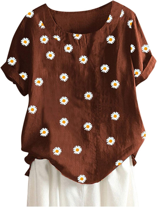 Womens Plus Size Cotton Linen Tops Daisy Sunflower Printed Short Sleeve T-Shirt Summer Tunics Pullover Blouse