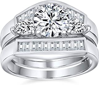 2CT Round Solitaire AAA CZ Pave Baguette Band Guard Enhancers Engagement 3Pcs Wedding Ring Set 925 Sterling Silver