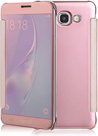 Margoun Smart Clear View Mirror Flip Case Cover compatible with Samsung Galaxy J5 Prime G570 - Pink