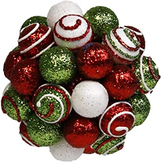A & B Floral Glittered Striped Berry Ball Red Green White 5 inch Acrylic Christmas Ornament