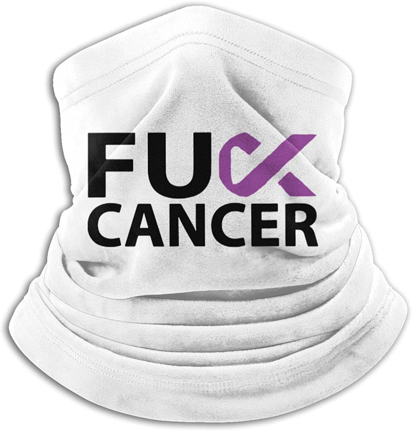 Pancreatic cancer awareness purple ribbon unisex winter neck gaiter face cover mask, windproof balaclava scarf for fishing, running & hiking