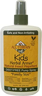 All Terrain Kids DEET-Free Herbal Armor Insect Repellent, Safe for Sensitive Skin, Effective Bug Spray Formula with Natural Repelling Oils, Great for Travel, Camping, & Outdoor Activities