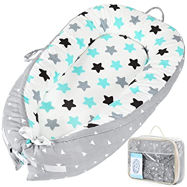 Elover Baby Nest Newborn Baby Lounger Soft Breathable Cotton for Newborn & Babies Sleeping Pod Baby Bassinet for Bed - Star Grey