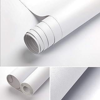 HappyHome Matte White Wall Paper, 60 x 500cm Peel and Stick Wallpaper Self-Adhesive Waterproof Oil-proof Decorative Remova...