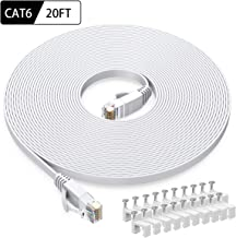 Cat6 Ethernet Cable 20 FT White, BUSOHE Cat-6 Flat RJ45 Computer Internet LAN Network Ethernet Patch Cable Cord - 20 Feet