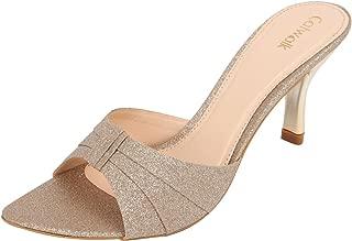 Catwalk Golden Leather Slip-on Heeled Sandals for Women's