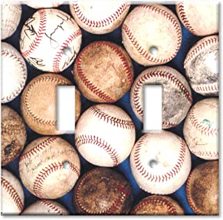 Double Gang Toggle Wall Plate - Sports: Old Baseballs