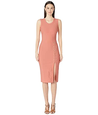 YIGAL AZROUEL Sleeveless Mechinical Stretch Dress with Lacing Detail (Coral) Women