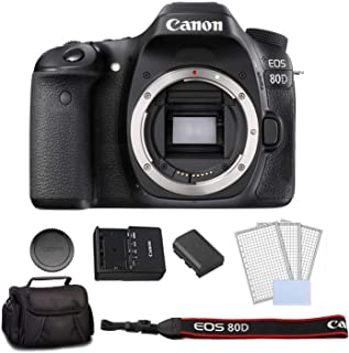 Canon EOS 80D DSLR Camera (Body Only) Bundle Kit with Carrying Bag + LCD Screen Protectors - International Model